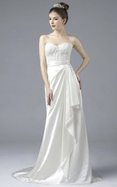 Satin Lace Appliques Elegant Sweetheart Open Back Gown With Draping And Buttons