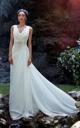 Sleeveless Rhinestone Ruched Long A-Line Chiffon Gown