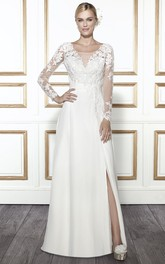 Scoop-neck Long Sleeve Illusion Front-split Wedding Dress With Appliques