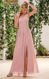 V-neck Sleeveless Chiffon Bridesmaid Dress With Lace And Split Front