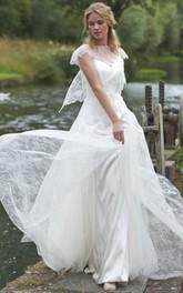 Jewel-Neck Cap-sleeve Lace Dress With Keyhole back