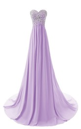 Long Crystal Top Chiffon Sleeveless Sweetheart Floor-Length Gown