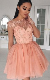 Jewel Tulle Lace Long Sleeve Short Homecoming Dress with Appliques and Ruffles