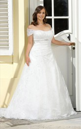 Off-The-Shoulder Sweep-Train Floor-Length A-Line Broach Lace Dress