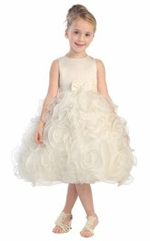 Layered Satin Bowknot Tea-Length Organza Flower Girl Dress