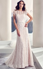 Short Sleeve Scoop-neck Lace Wedding Dress With Beading And Deep-V Back
