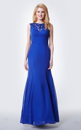 Illusion Lace Neck Form-fitted Chiffon Gown With Cap Sleeves