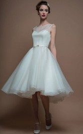 Sleeveless short A-line Organza Wedding Dress With Illusion