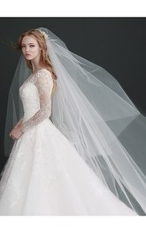 Simple Double Layer Ivory Bridal Veil With Insert Comb