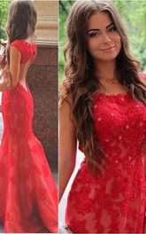 Appliqued Brush Train Jewel Red Sassy Evening Dress
