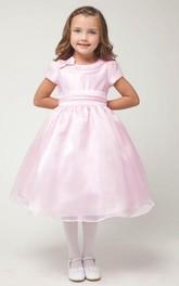 Cap-Sleeve Satin Bowknot 3-4-Length Organza Flower Girl Dress