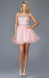 A-Line Ruffled Jeweled Mini Scoop-Neck Tulle Sleeveless Keyhole Dress