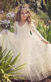 Bohemian Lace Simple Flower Girl Dress With Bell Sleeves