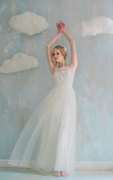 Tulle Layers Wedding Long A-Line Lace Dress