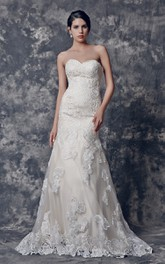 Lace Sweetheart Mermaid Wedding Dress With Appliques And Court Train