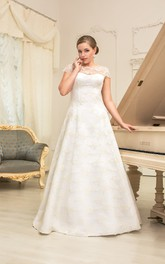 Jewel-Neckline Lace-Up Long A-Line Lace Cap-Sleeve Dress