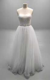 Princess Beaded Waistline Lace Bodice Pleated Sweetheart Ball Gown