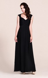 Illusion Back Floor-Length Plunging-Neckline Bridesmaid Dress