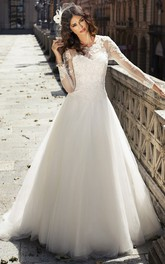 modern Long Sleeve Illusion tulle A-line Wedding Dress With Court Train