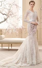 fairy V-neck Lace Illusion Long Sleeve Mermaid Dress With Deep-V Back