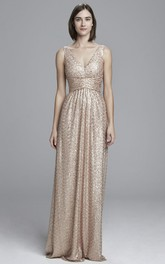 Sequined Sleeveless plunged Dress Low-V Back