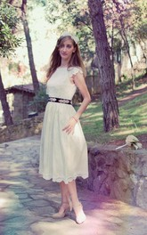 Lace Satin Ribbon Flower Short-Sleeve Jewel Dress
