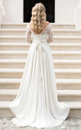 Bateau Chiffon Lace Illusion 3/4 Length Sleeve Wedding Gown