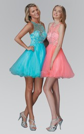 A-Line Short Scoop-Neck Sleeveless Tulle Illusion Dress With Beading And Ruffles