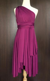 One-shoulder Sleeveless Pleated short infinite Dress