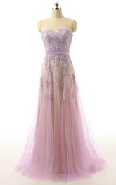 Floor-Length Lace Appliqued A-Line Sweetheart Tulle Dress