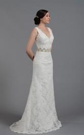 Long Rhinestone Lace V-Neckline Elegant Wedding Floor-Length Gown