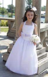 Floor-Length Floral Satin Sash A-Line Halter Flower Girl Dress