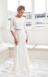 Modest Two Piece Half Sleeve Wedding Dress With Sweep/Brush Train