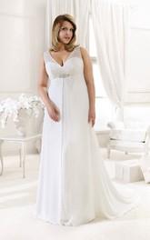 dipped-v-neck Sleeveless A-line Empire Dress With Lace And Beading