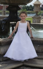 Floor-Length Bandage A-Line Bateau-Neckline Flower Girl Dress