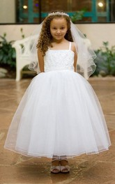 Layered Strapped Spaghetti Ankle-Length Lace Flower Girl Dress