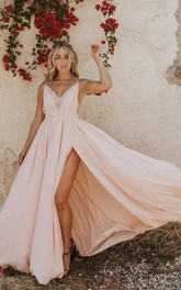 Spaghetti V-neck Chiffon Sleeveless Floor-length Backless Prom Dress with Lace