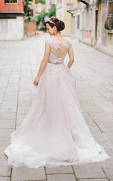 Illusion Cap-sleeve Tulle A-line Wedding Dress With Appliques And Court Train
