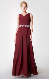 Strap Cowl Floor-Length Beaded Fabulous Chiffon Long Gown
