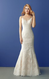 Scoop-neck Illusion Sleeveless Lace Mermaid Wedding Dress