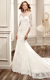 Bateau 3-4-sleeve Mermaid Lace Appliqued Wedding Dress With Illusion And Court Train