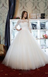 Long-Sleeve Lace Bridal Ball-Gown Princess Satin Tulle Dress