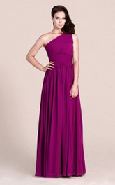 Long Chiffon High-Waist Single-Shoulder Floor-Length Bridesmaid Dress