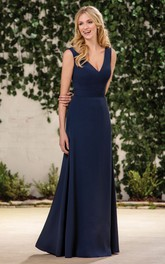 Plunged Sleeveless Jersey Long Dress With Zipper