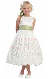 Taffeta Embroidery 3-4-Length Floral Flower Girl Dress