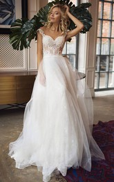 Sweetheart Lace Tulle Sleeveless Sweep Train Button Illusion Wedding Dress