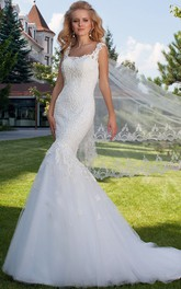square-neck fishtail Tulle Lace Wedding Dress With Illusion back