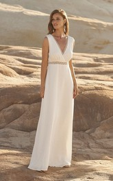 Sleeveless Plunging Chiffon Wedding Dress With Open Back And Lace Details