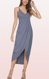 Romantic V-neck Chiffon Bodycon Prom Dress With Draping and Split Front