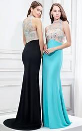 Sleeveless Brush Train High-Neck Beaded Formal Jersey Dress